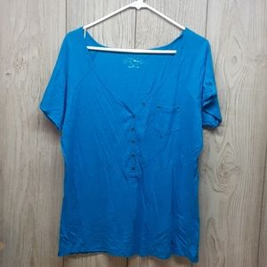 MAURICES Blue Half Button Tshirt With Pocket